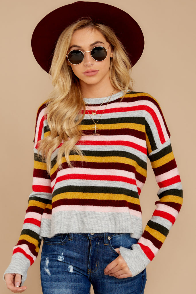 1 Moving On Without You Grey Stripe Eyelash Sweater at reddressboutique.com