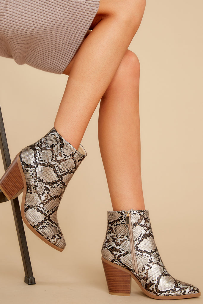 1 Hot Steps Snake Print Ankle Booties at reddress.com