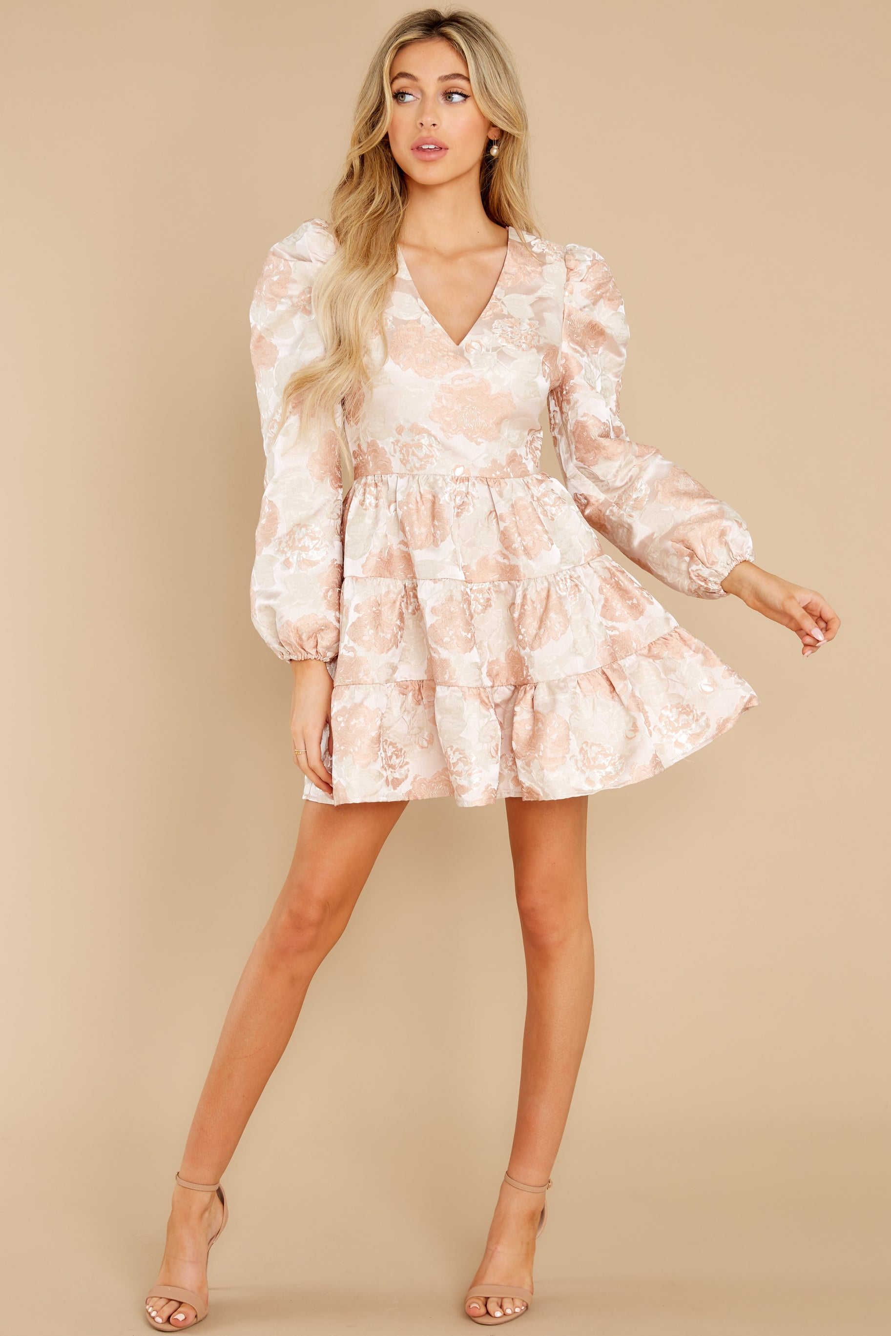 4 Celebratory Cheers Blush And Beige Floral Print Dress at reddress.com