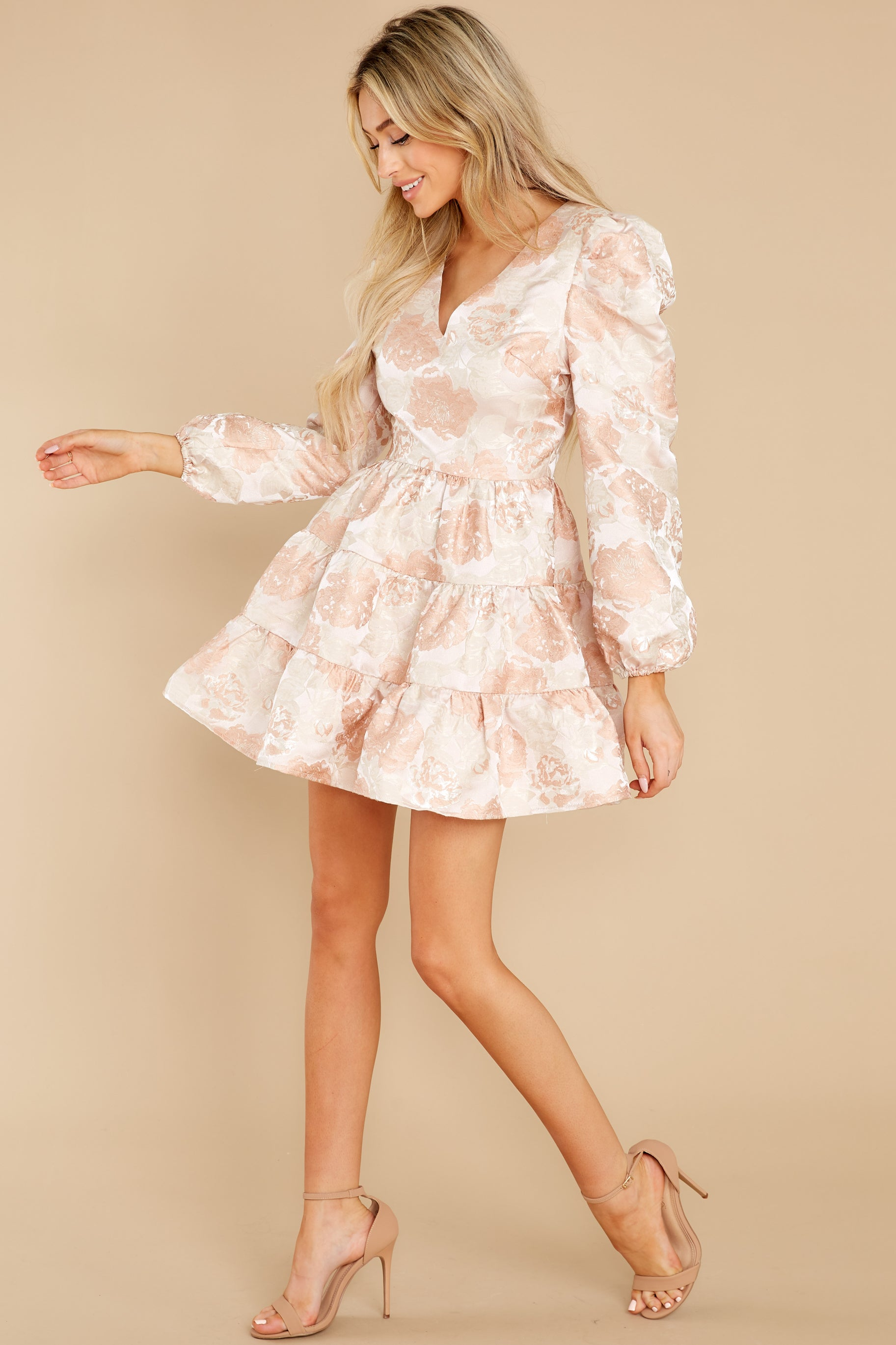3 Celebratory Cheers Blush And Beige Floral Print Dress at reddress.com