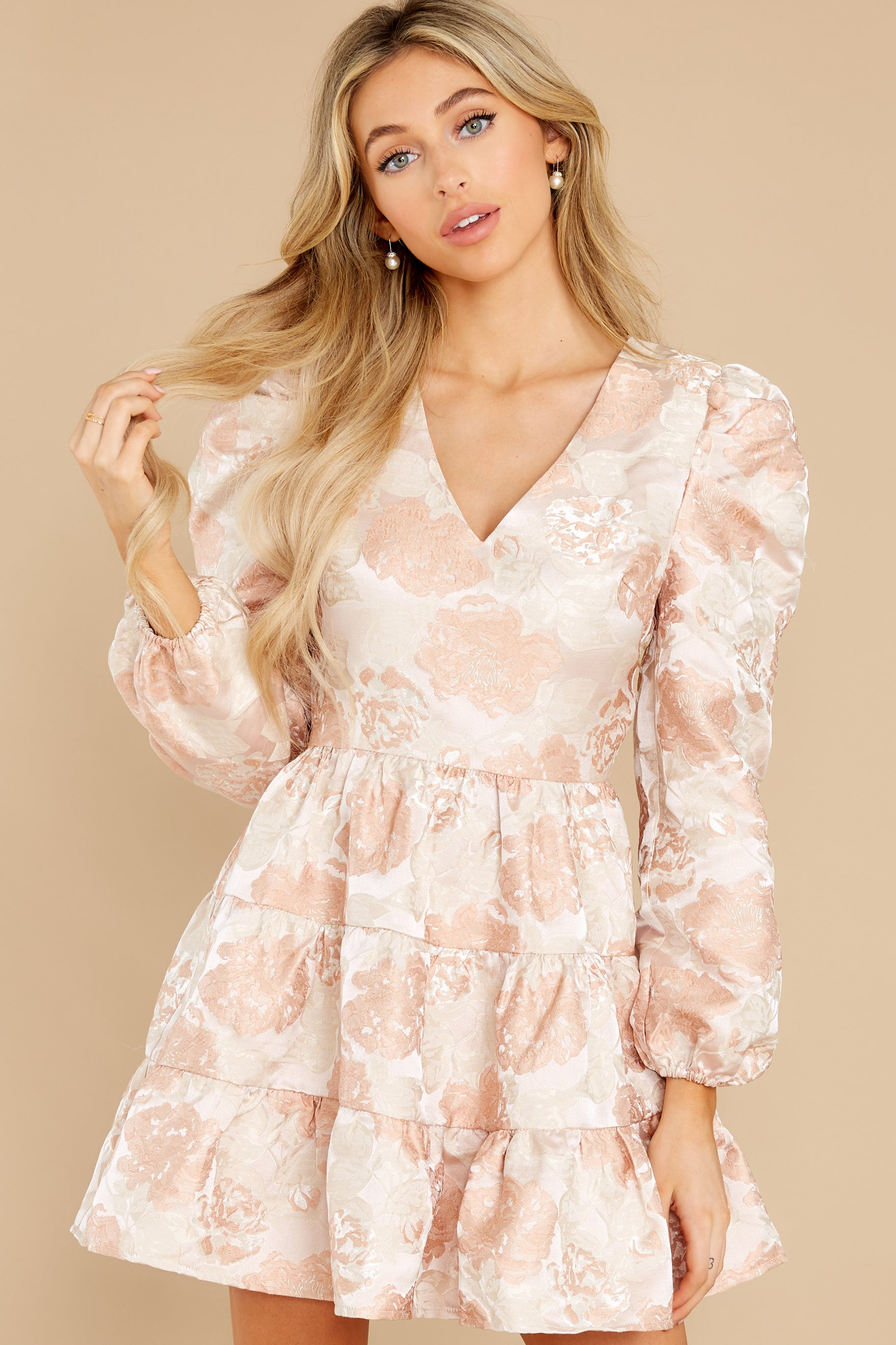 5 Celebratory Cheers Blush And Beige Floral Print Dress at reddress.com