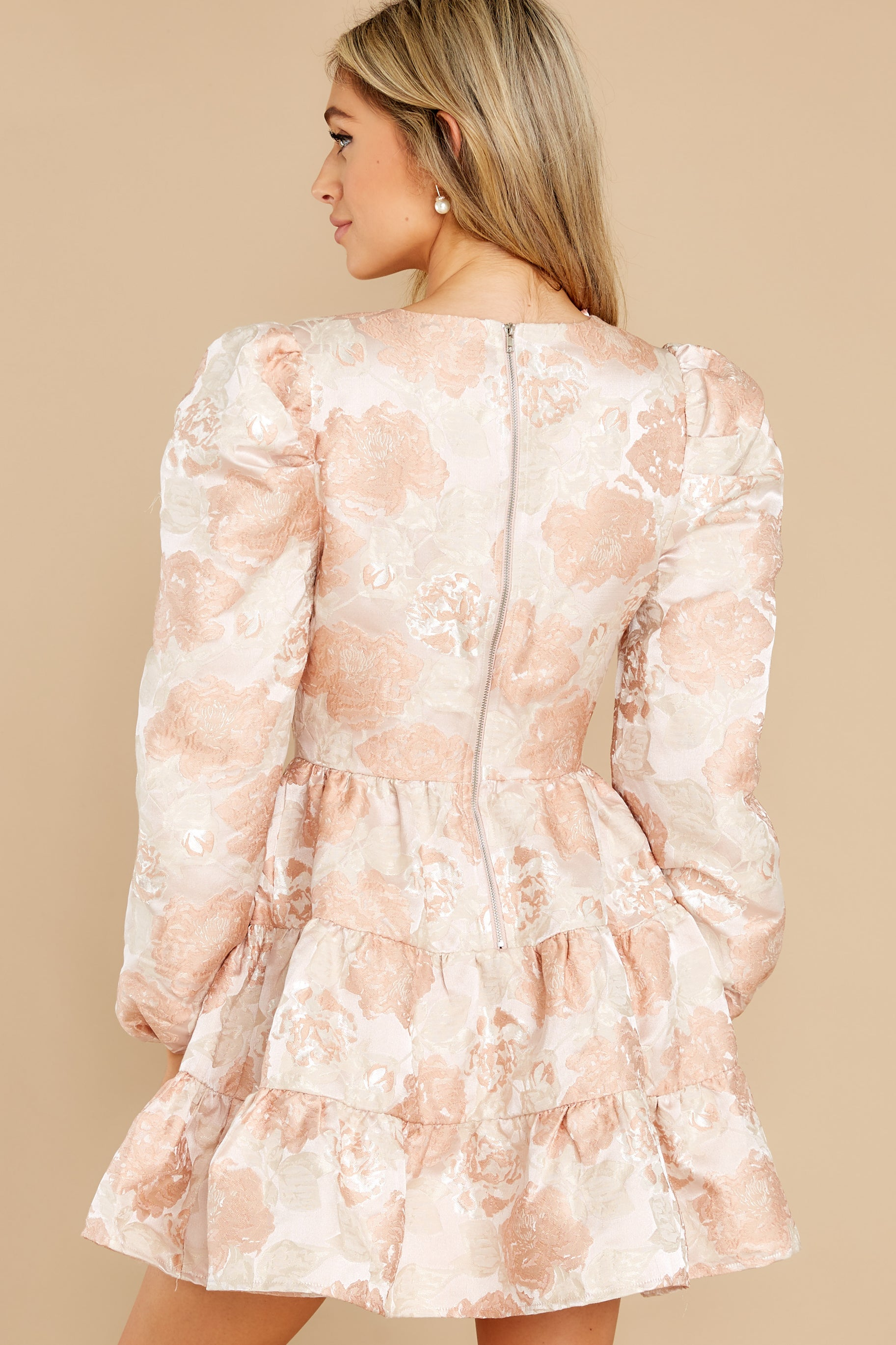 7 Celebratory Cheers Blush And Beige Floral Print Dress at reddress.com