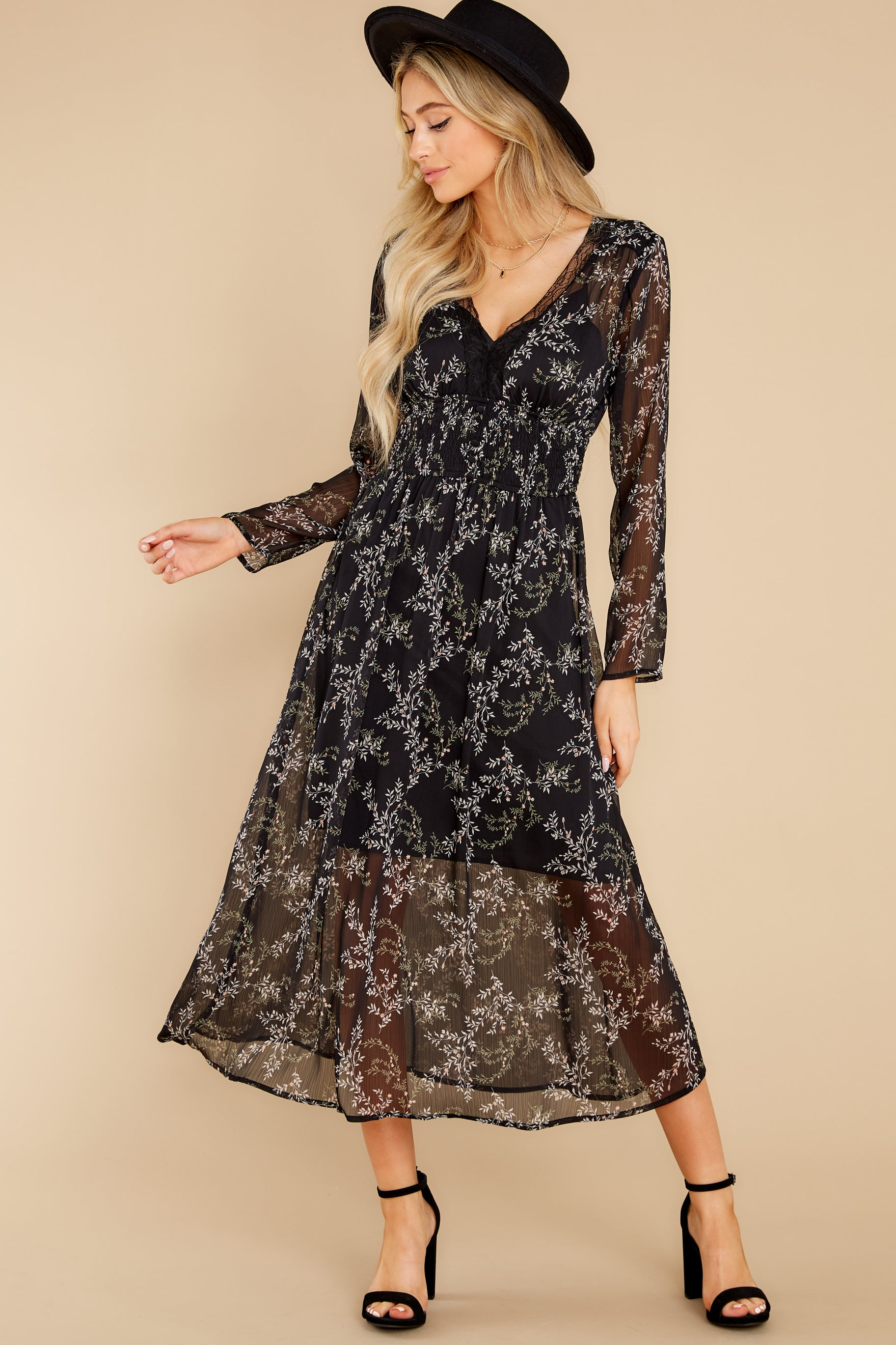 2 Build An Empire Black Floral Print Maxi Dress at reddress.com