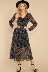 1 Build An Empire Black Floral Print Maxi Dress at reddress.com