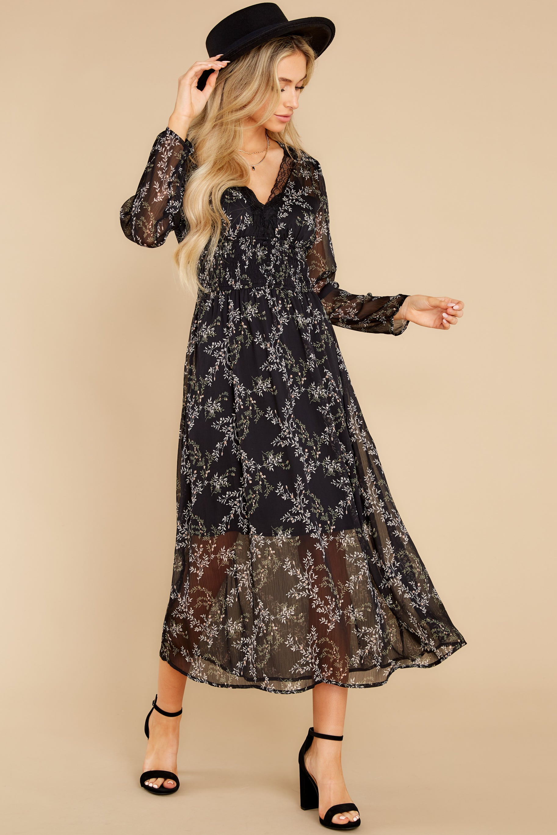 3 Build An Empire Black Floral Print Maxi Dress at reddress.com