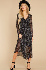 4 Build An Empire Black Floral Print Maxi Dress at reddress.com