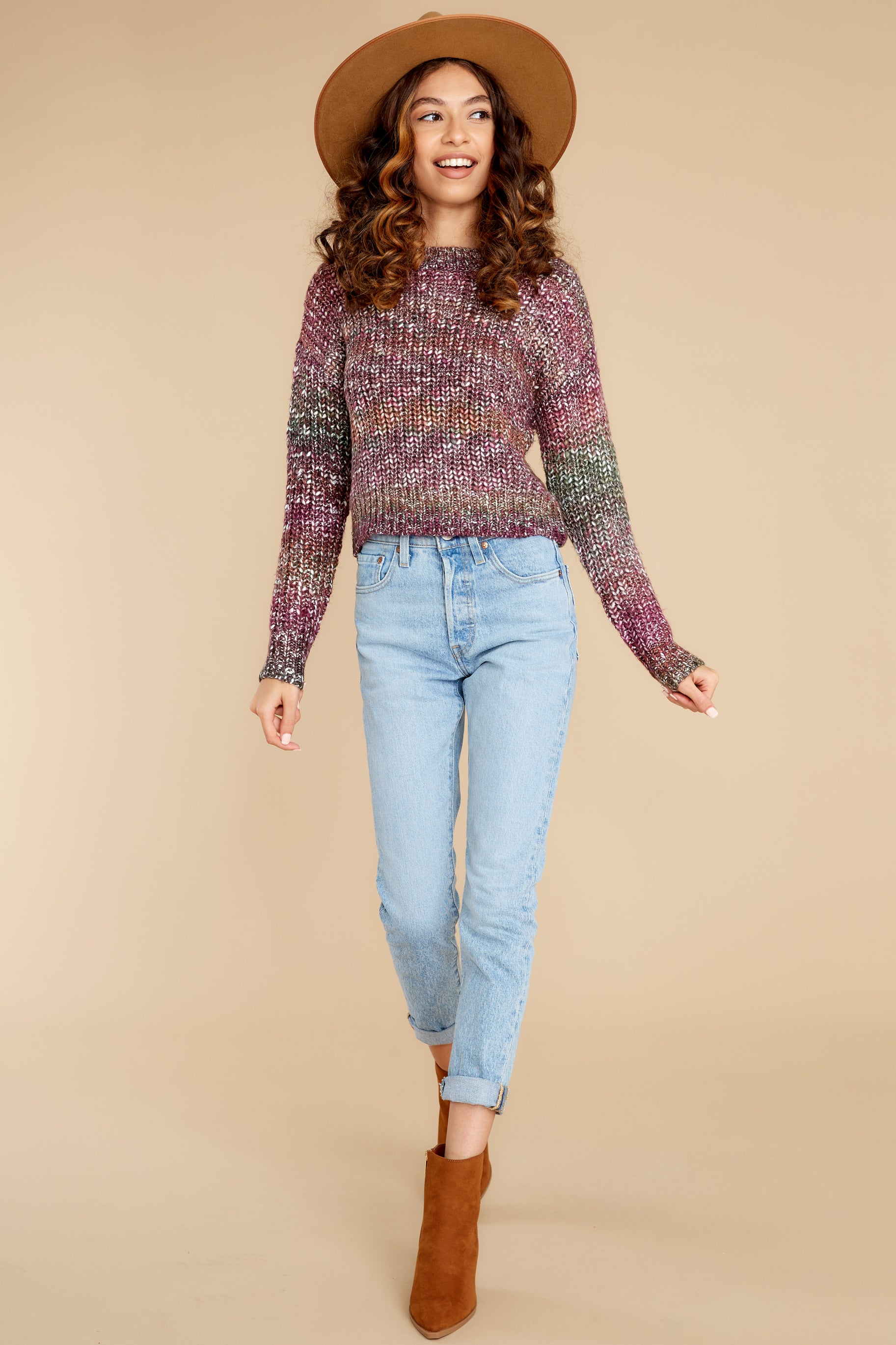 2 Maxine Purple Multi Knit Sweater at reddress.com