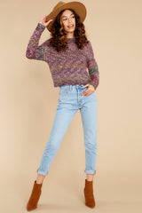 3 Maxine Purple Multi Knit Sweater at reddress.com
