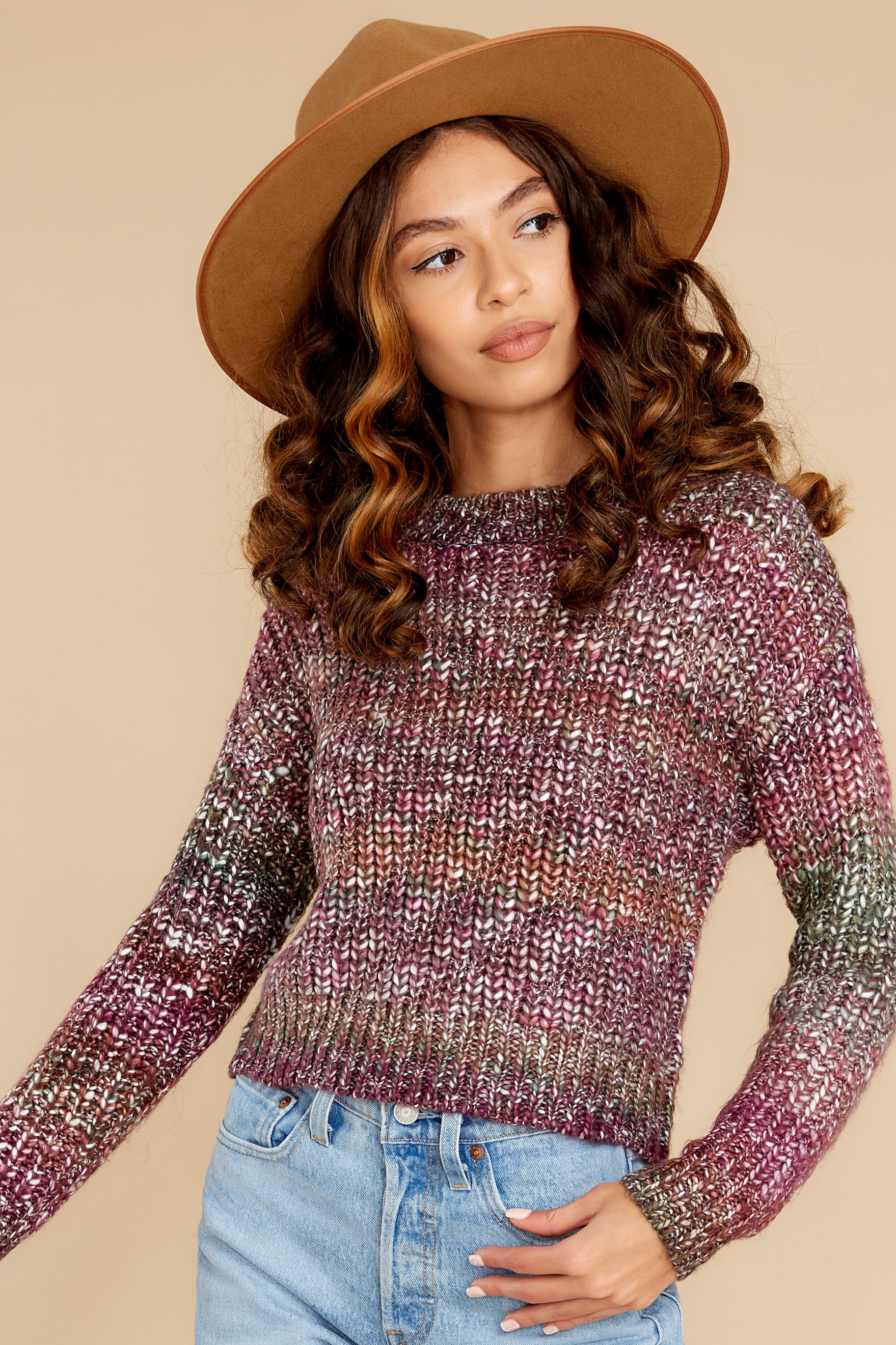 6 Maxine Purple Multi Knit Sweater at reddress.com