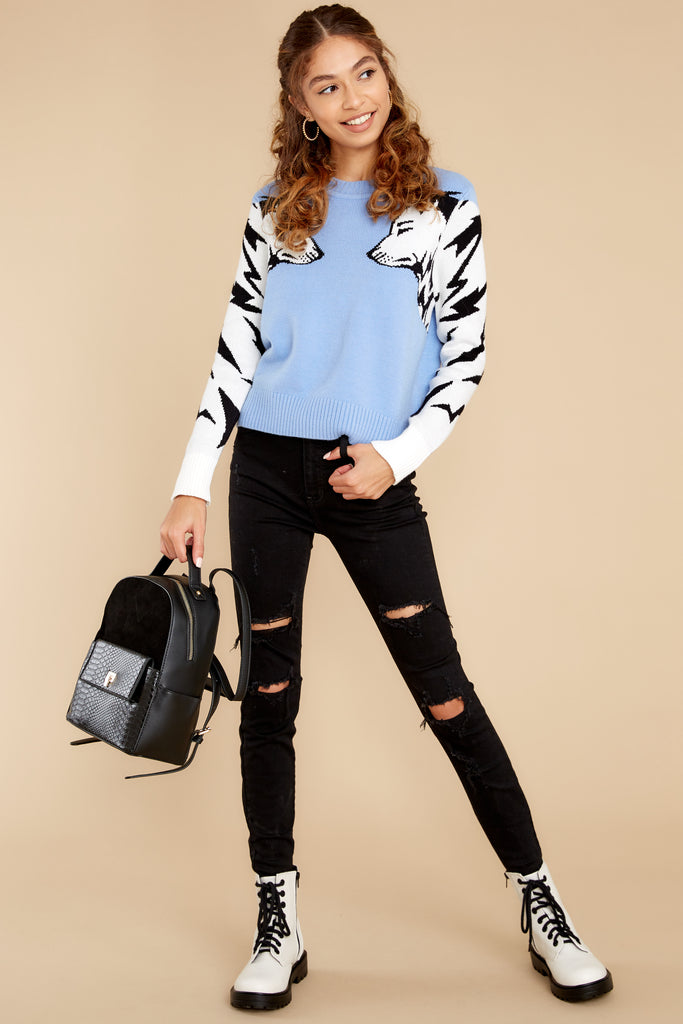1 Wolf Pack Cool Blue Knit Sweater at reddress.com