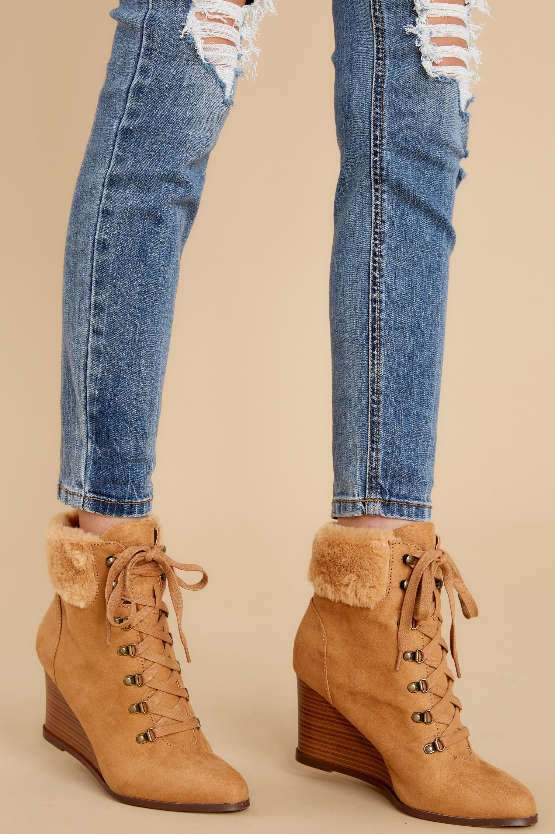 2 A New Way Tan Lace Up Wedge Booties at reddress.com