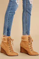 3 A New Way Tan Lace Up Wedge Booties at reddress.com