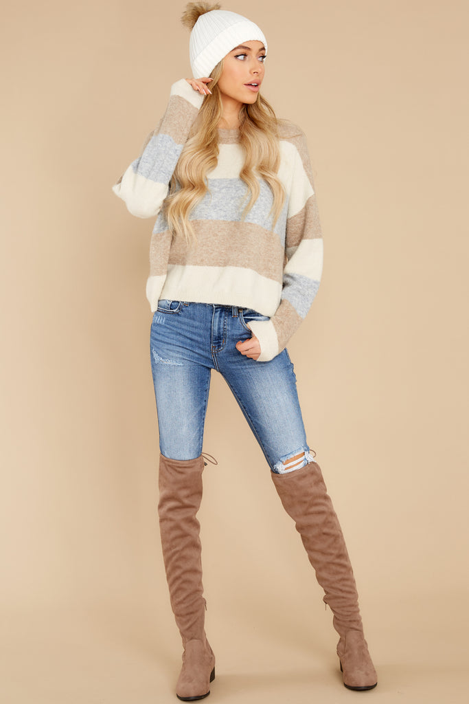 1 Call My Lovely Mocha Stripe Sweater at reddress.com
