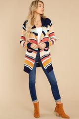 7 Denali Sunset Navy Multi Knit Cardigan at reddress.com