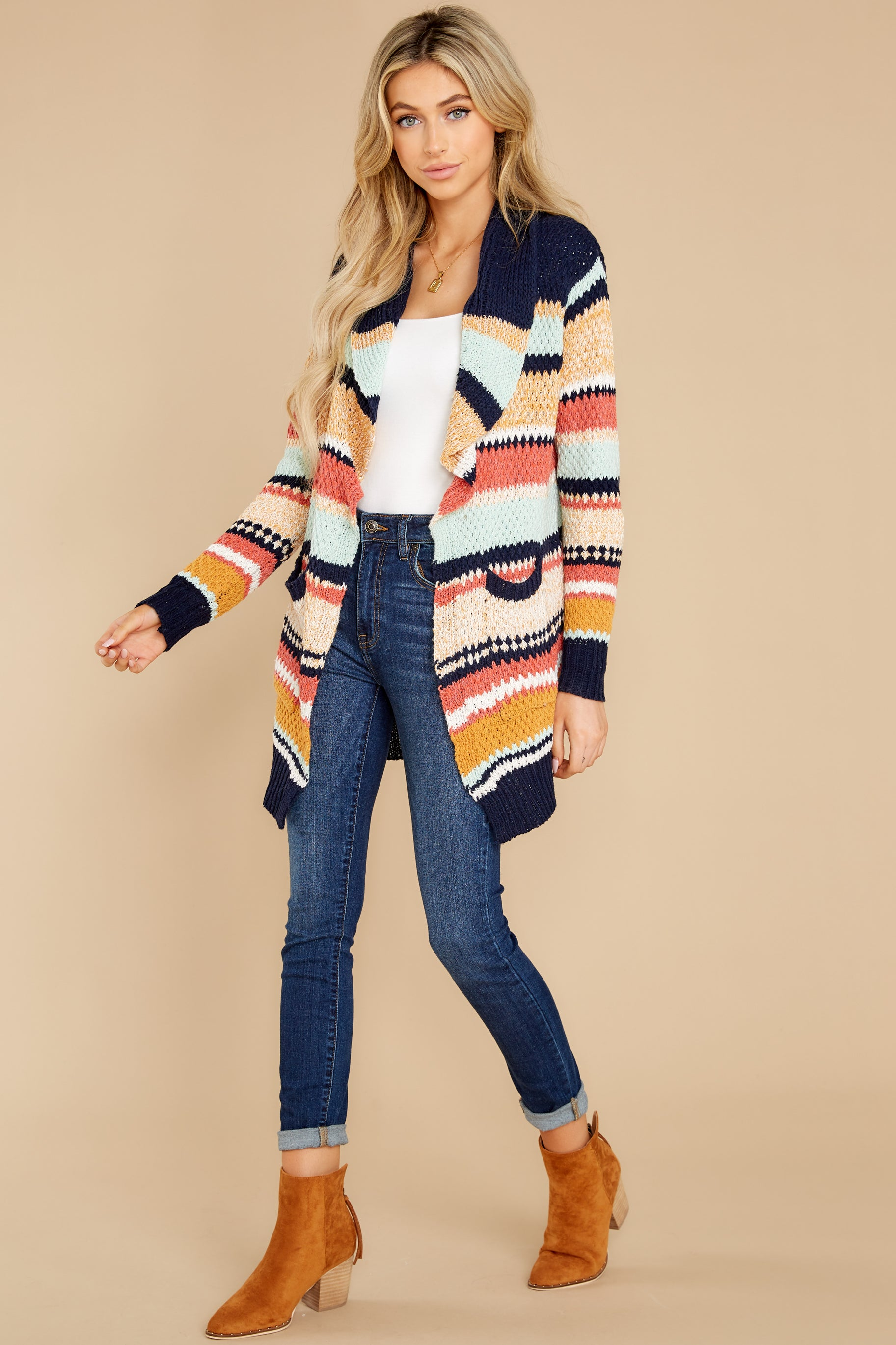 6 Denali Sunset Navy Multi Knit Cardigan at reddress.com