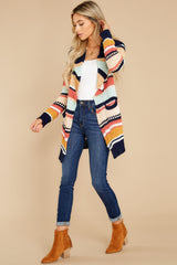 4 Denali Sunset Navy Multi Knit Cardigan at reddress.com