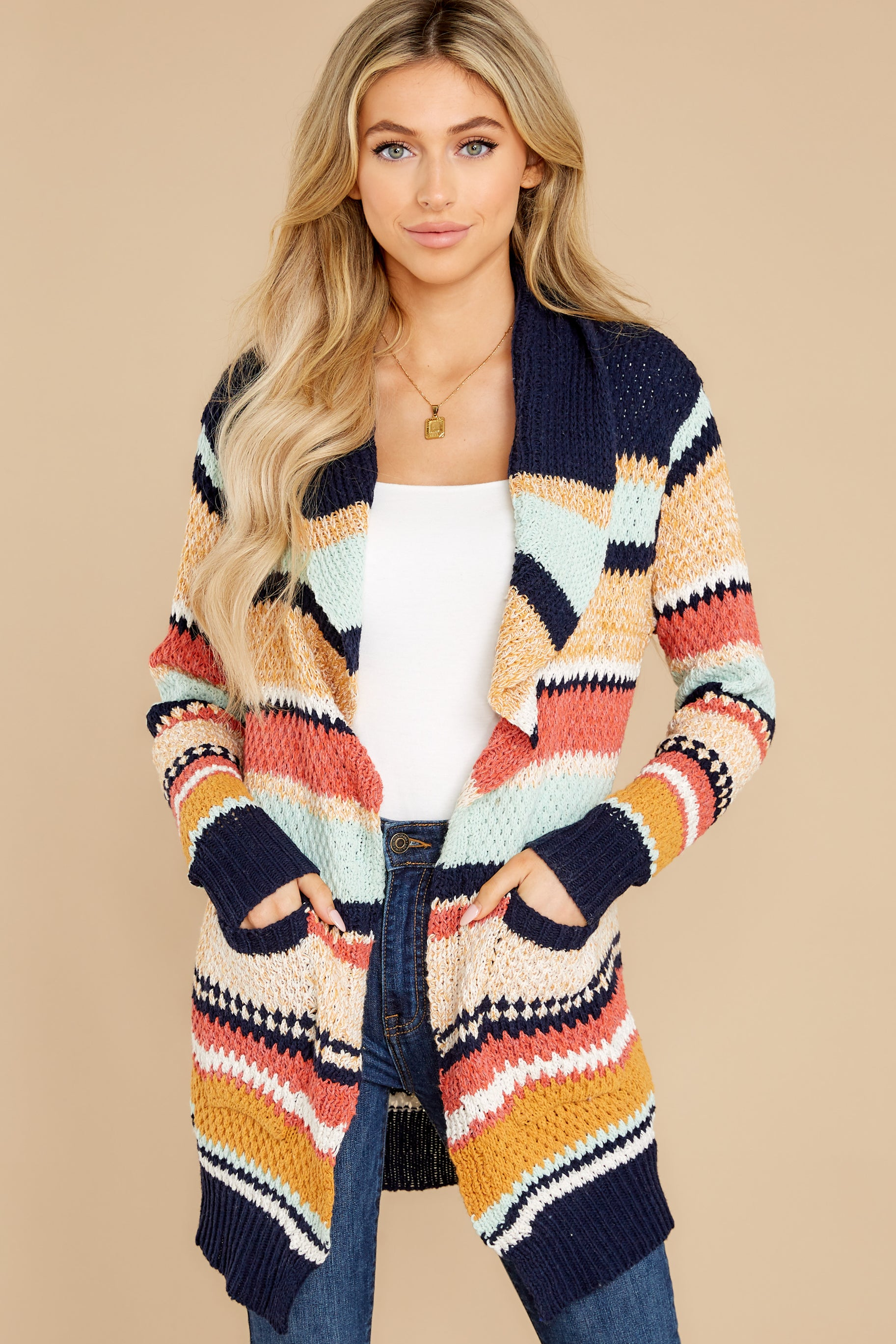 8 Denali Sunset Navy Multi Knit Cardigan at reddress.com