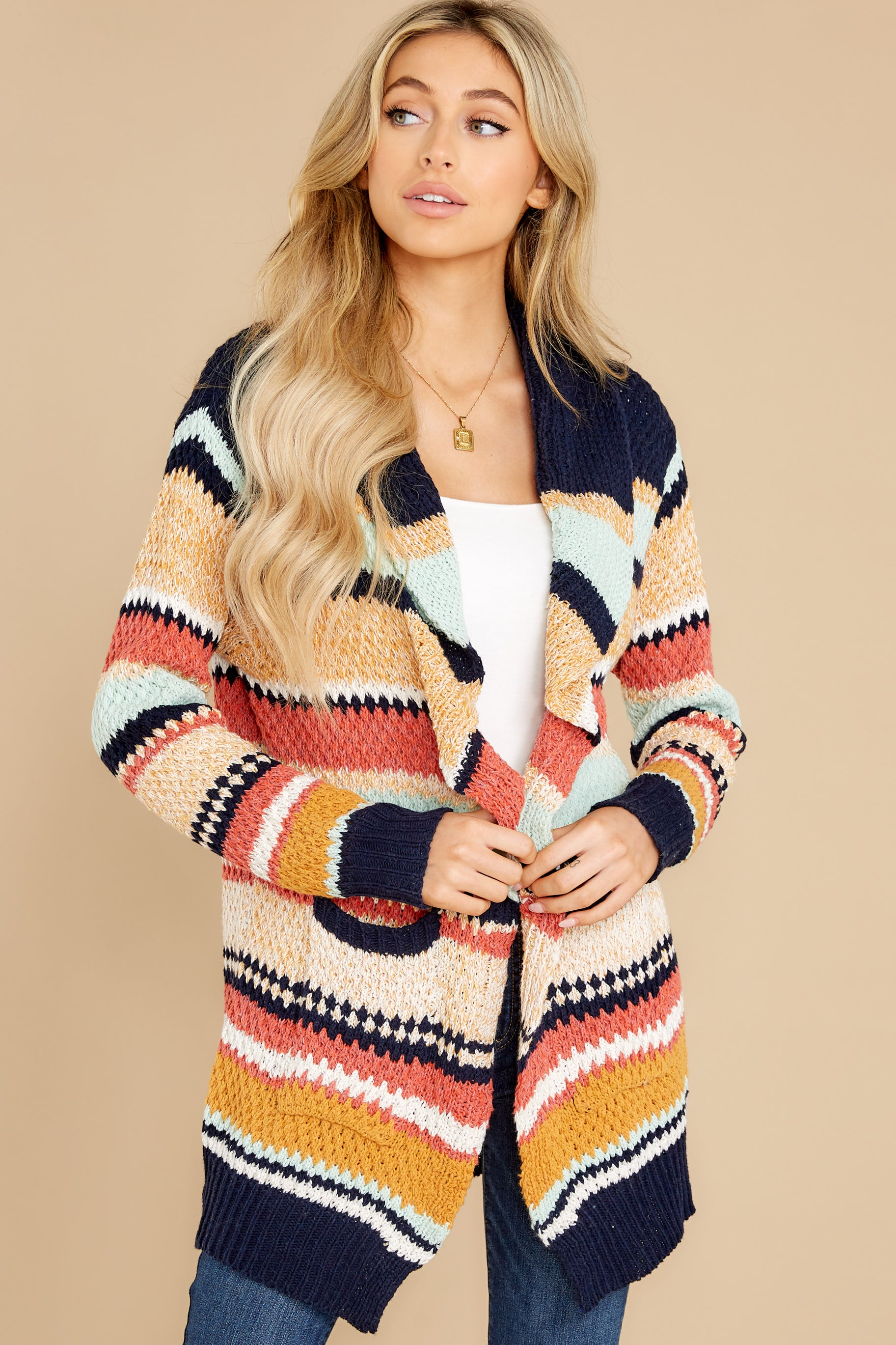 9 Denali Sunset Navy Multi Knit Cardigan at reddress.com