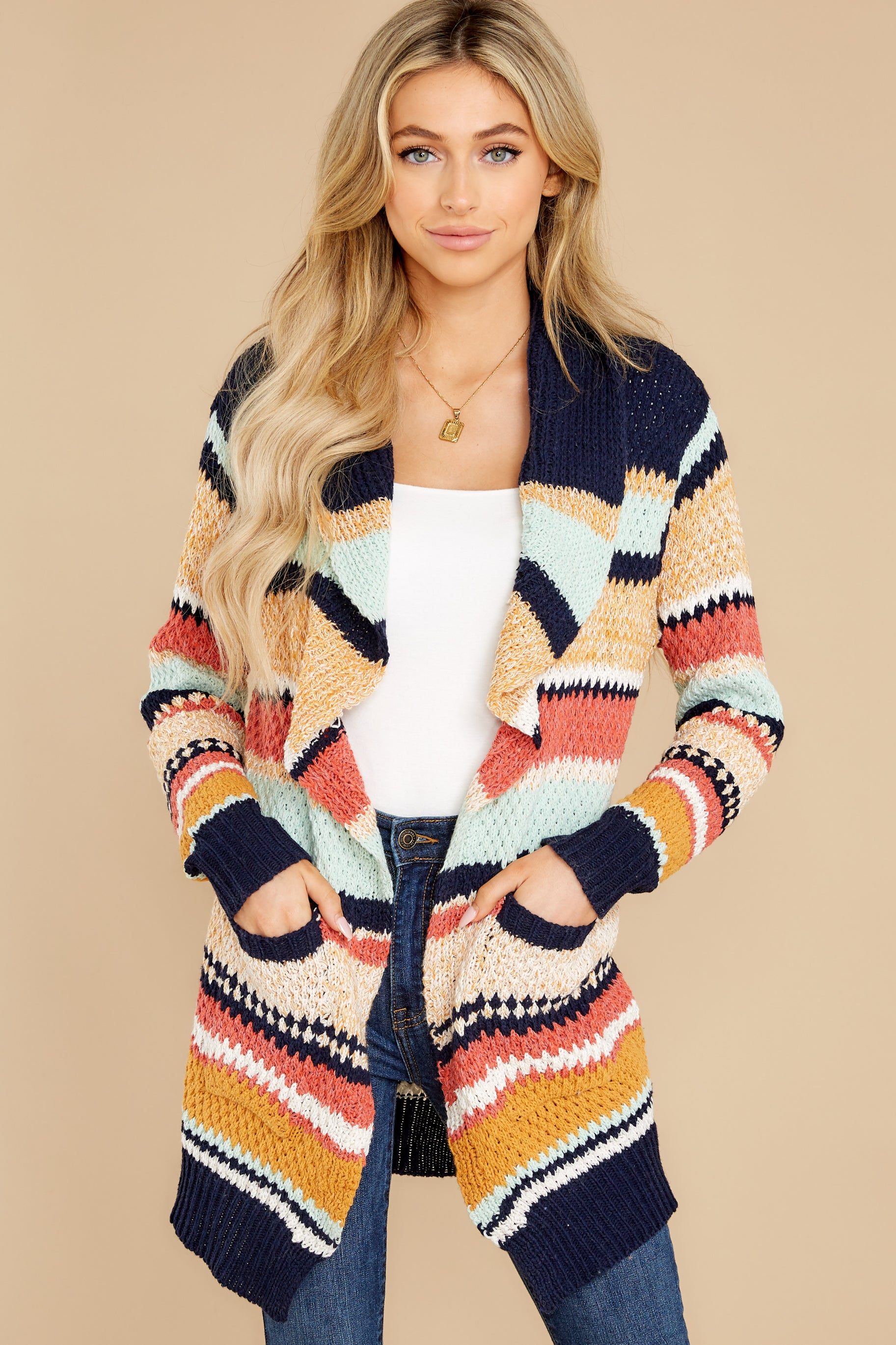10 Denali Sunset Navy Multi Knit Cardigan at reddress.com