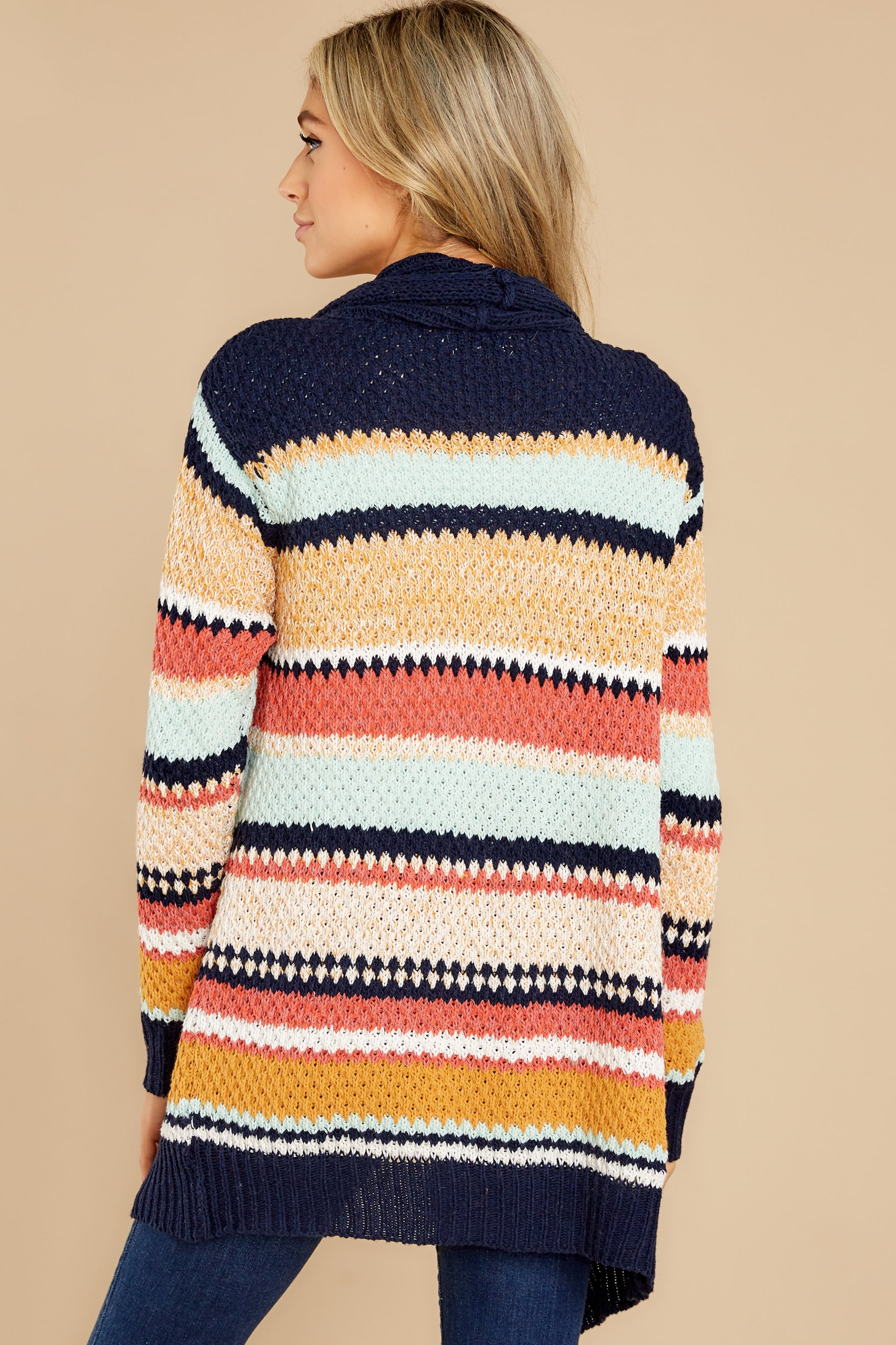 11 Denali Sunset Navy Multi Knit Cardigan at reddress.com