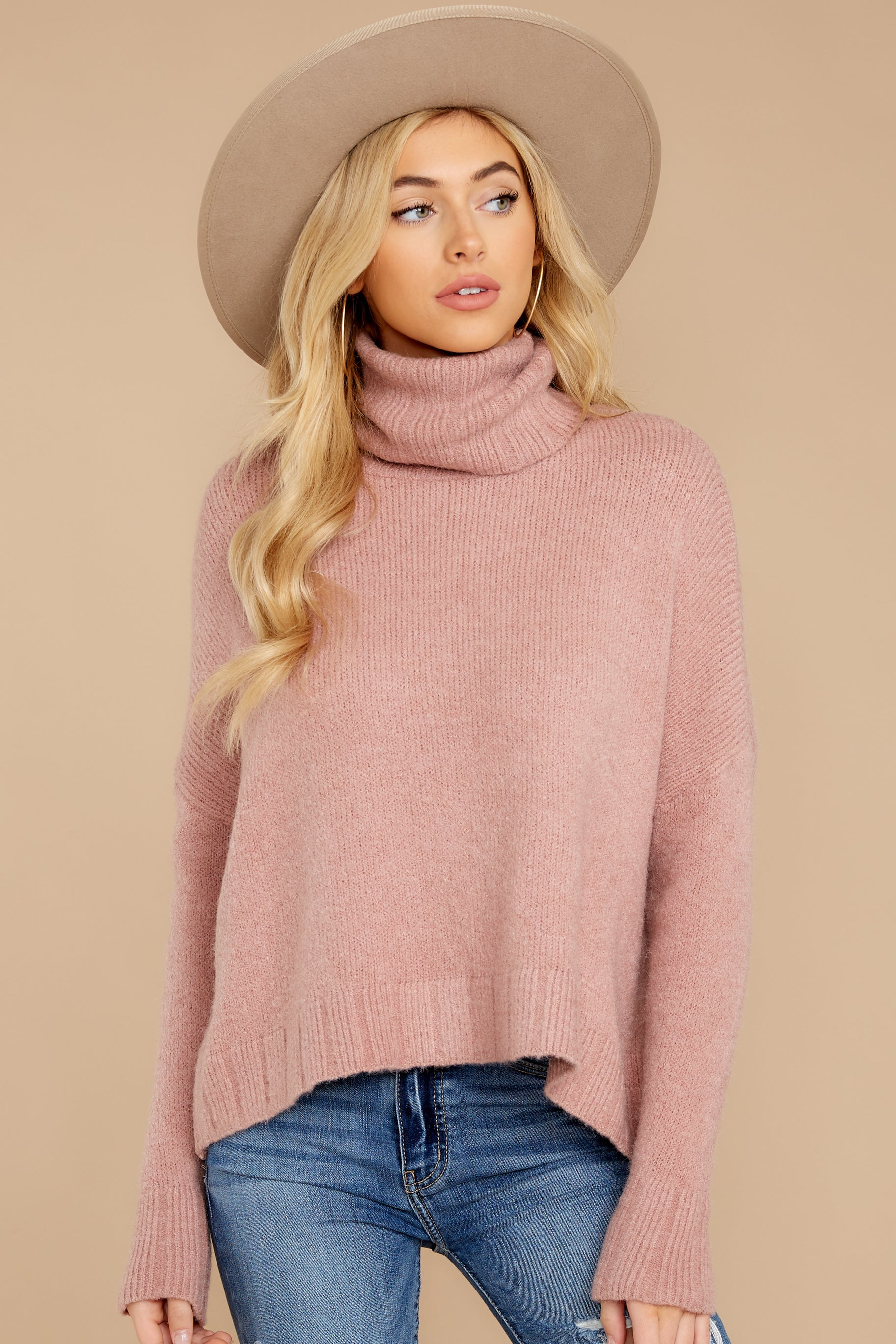 6 Say Anything Dusty Pink Sweater at reddressboutique.com