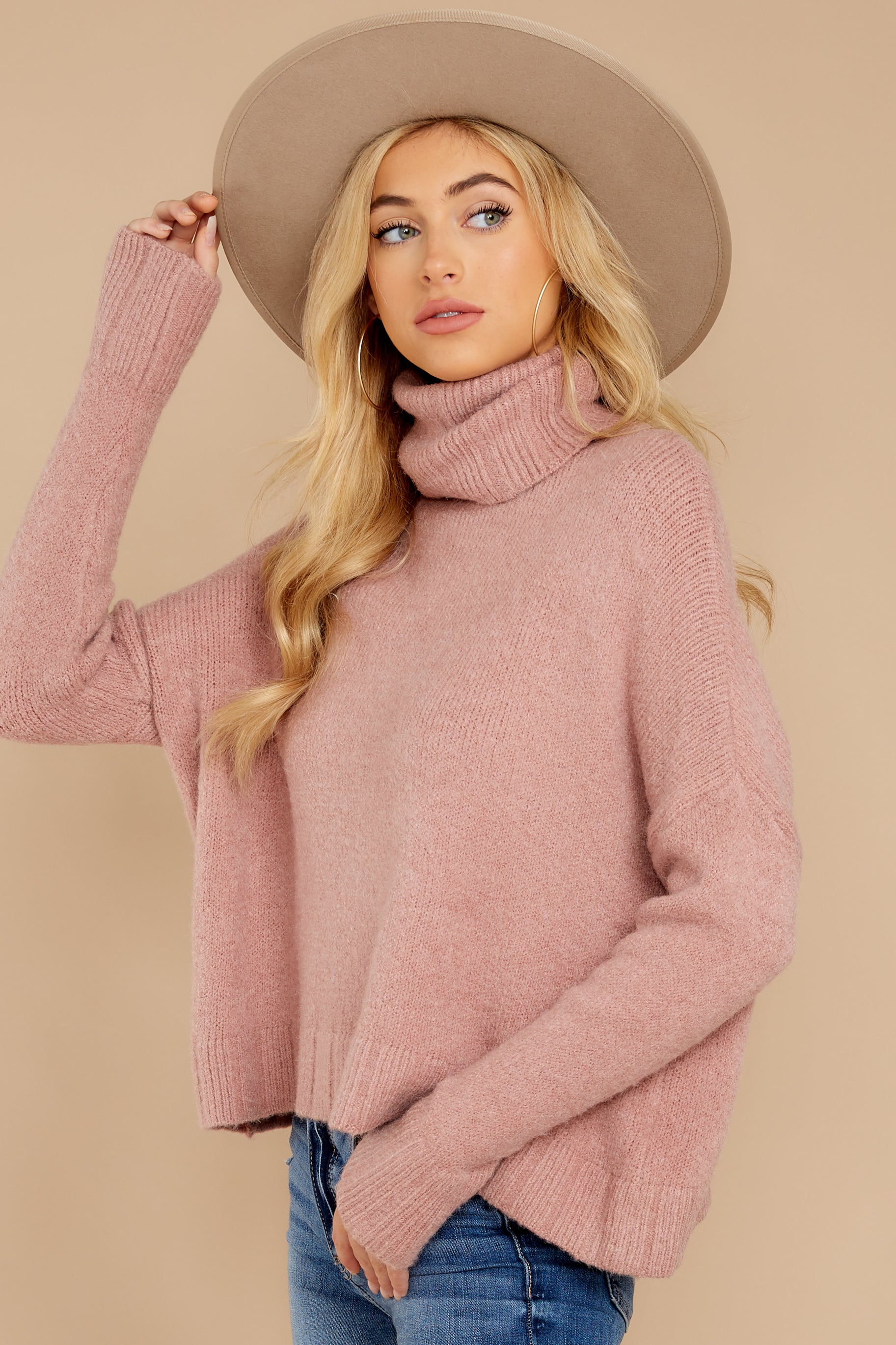 7 Say Anything Dusty Pink Sweater at reddressboutique.com