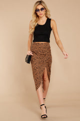 4 In Her Nature Tan Cheetah Print Skirt at reddressboutique.com