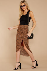 7 In Her Nature Tan Cheetah Print Skirt at reddressboutique.com