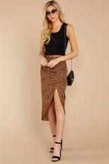 8 In Her Nature Tan Cheetah Print Skirt at reddressboutique.com