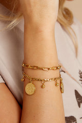 1 All Saints Gold Coin Bracelet at reddressboutique.com
