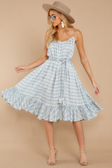 1 Sweet Muse Light Blue Plaid Midi Dress at reddressboutique.com