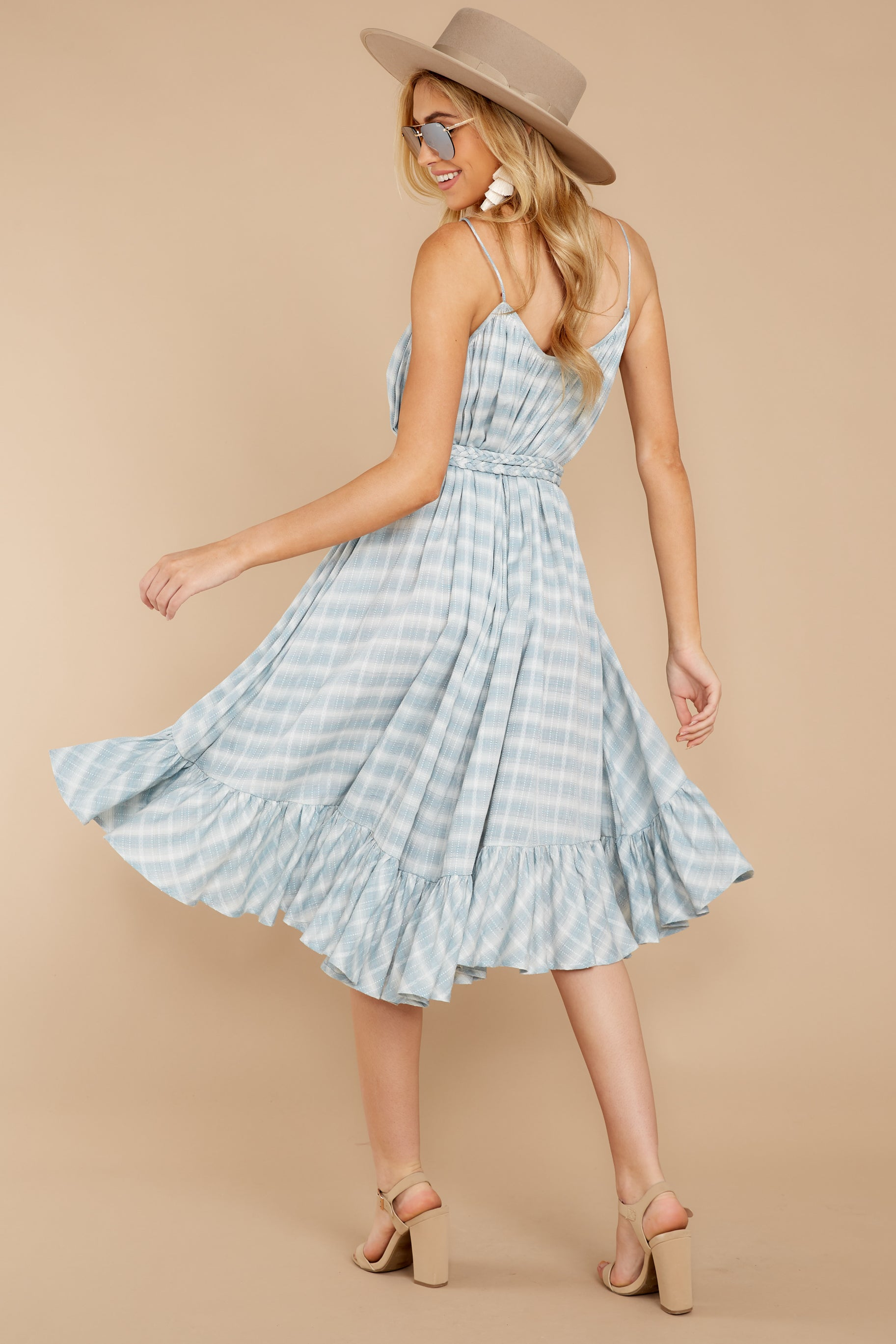 9 Sweet Muse Light Blue Plaid Midi Dress at reddressboutique.com