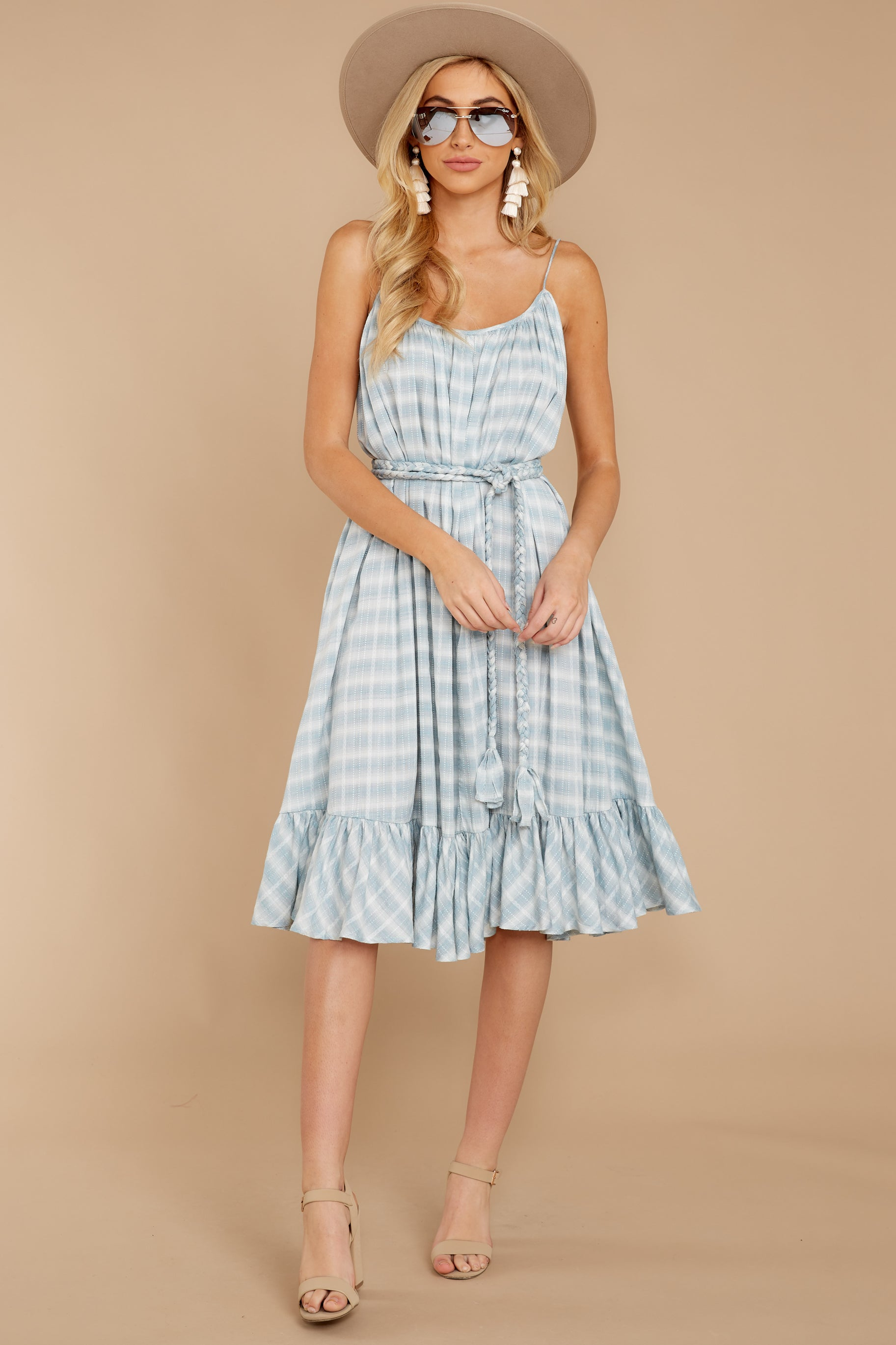 3 Sweet Muse Light Blue Plaid Midi Dress at reddressboutique.com