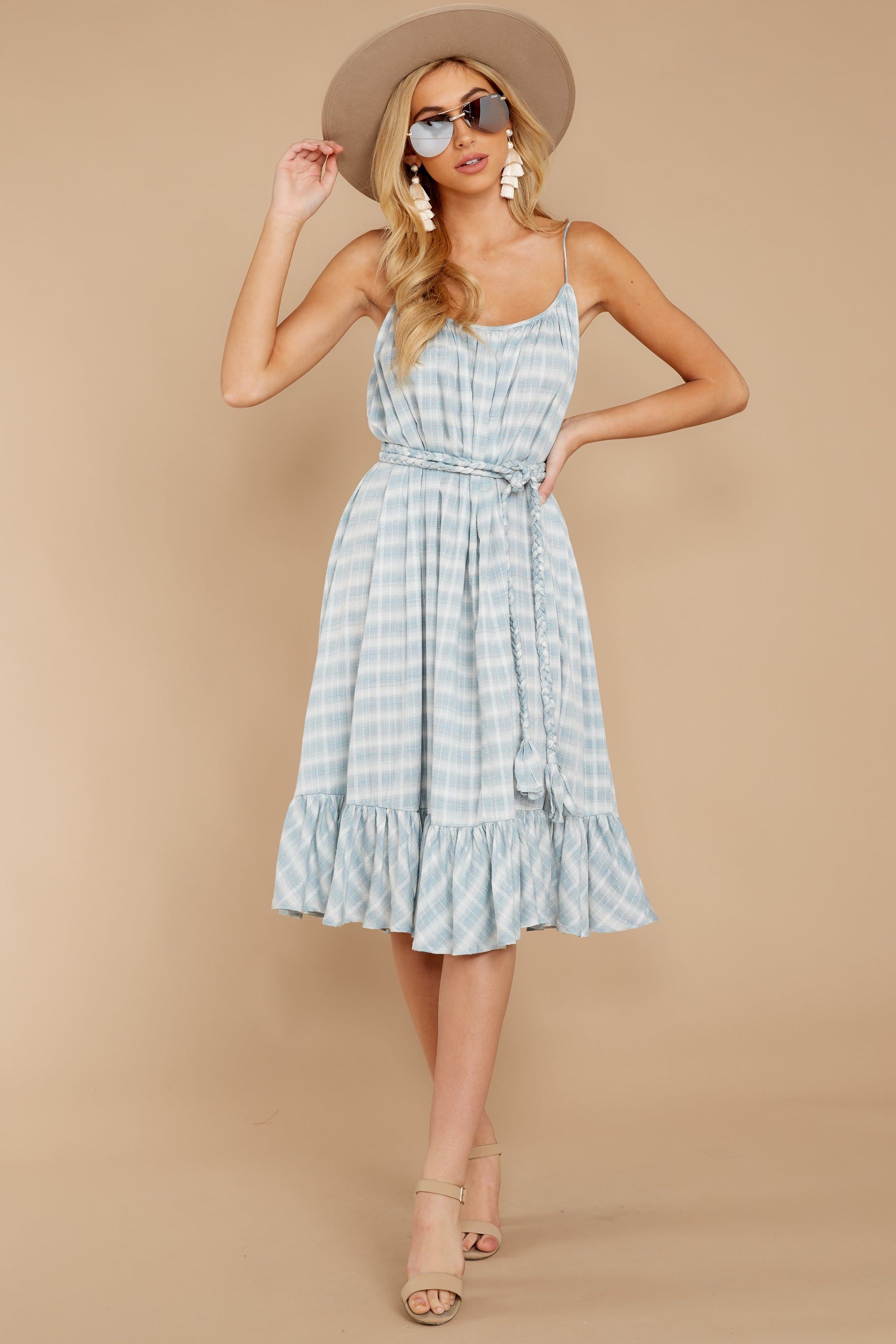 4 Sweet Muse Light Blue Plaid Midi Dress at reddressboutique.com