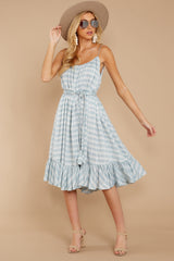 6 Sweet Muse Light Blue Plaid Midi Dress at reddressboutique.com