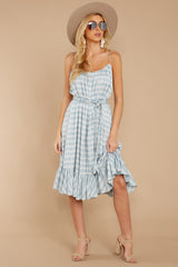 5 Sweet Muse Light Blue Plaid Midi Dress at reddressboutique.com