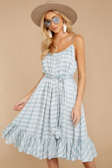 7 Sweet Muse Light Blue Plaid Midi Dress at reddressboutique.com