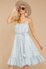 8 Sweet Muse Light Blue Plaid Midi Dress at reddressboutique.com
