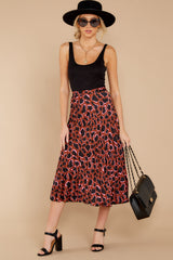 5 Must Have It Pink Multi Leopard Print Midi Skirt at reddressboutique.com