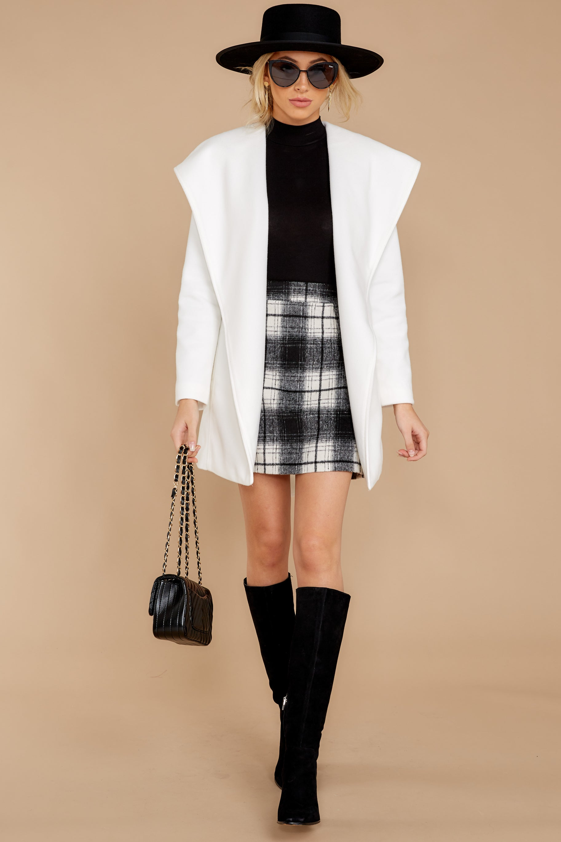 4 As If White And Black Plaid Skirt at reddressboutique.com
