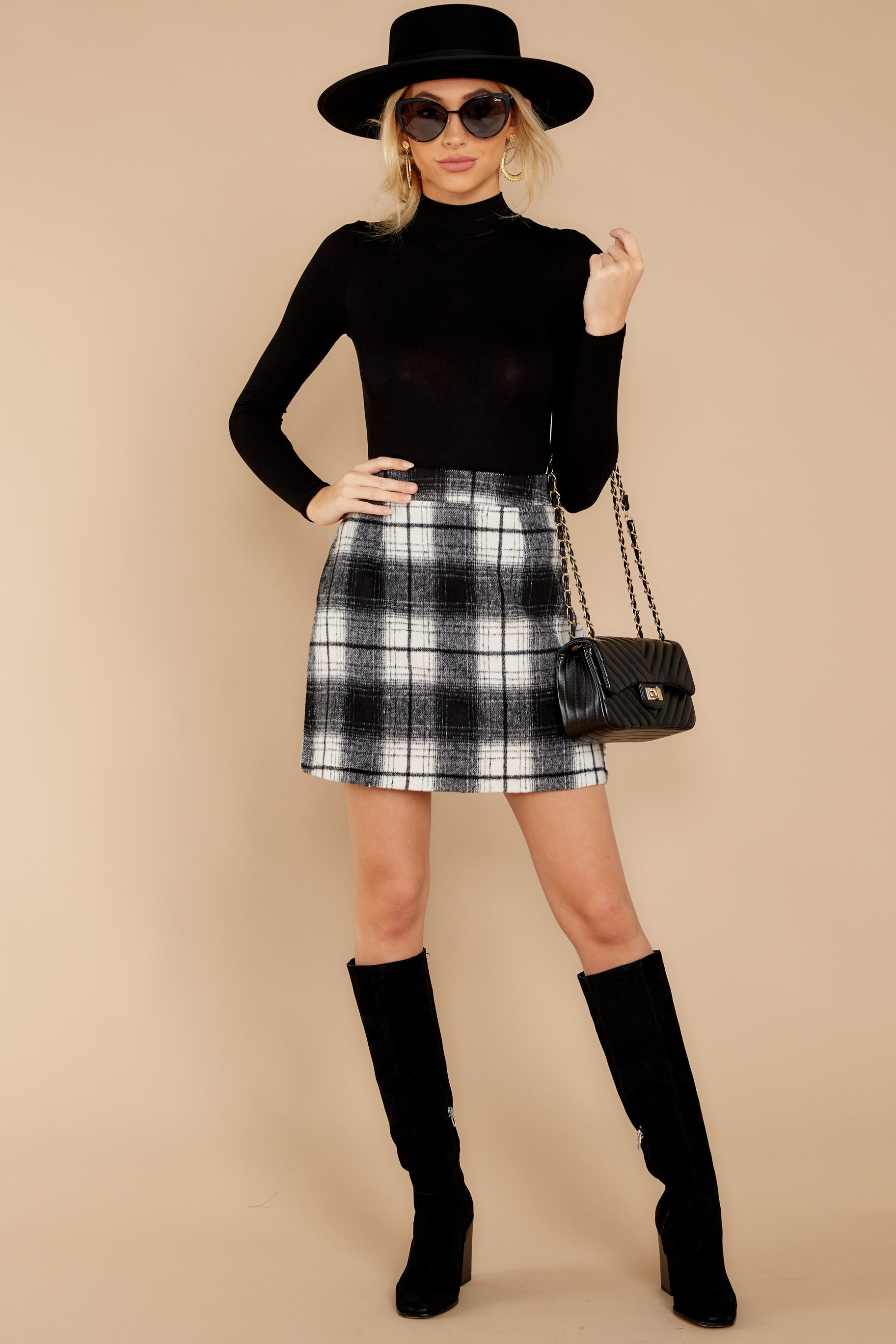 5 As If White And Black Plaid Skirt at reddressboutique.com