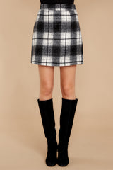 2 As If White And Black Plaid Skirt at reddressboutique.com