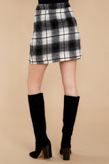 3 As If White And Black Plaid Skirt at reddressboutique.com