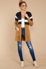 1 Early Morning Camel And Navy Striped Cardigan at reddressboutique.com