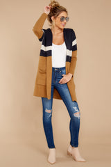 2 Early Morning Camel And Navy Striped Cardigan at reddressboutique.com