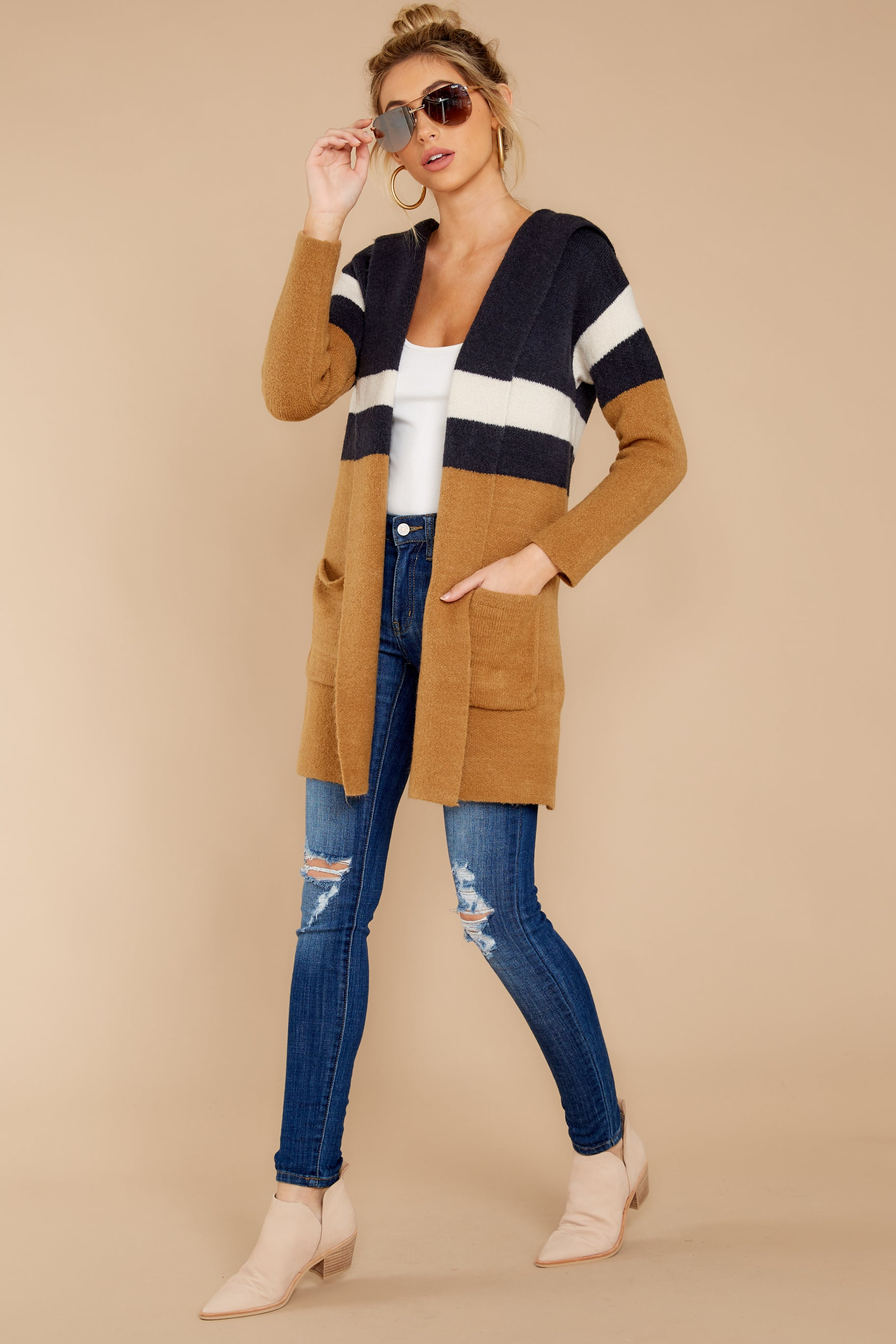 3 Early Morning Camel And Navy Striped Cardigan at reddress.com