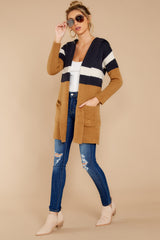 3 Early Morning Camel And Navy Striped Cardigan at reddressboutique.com