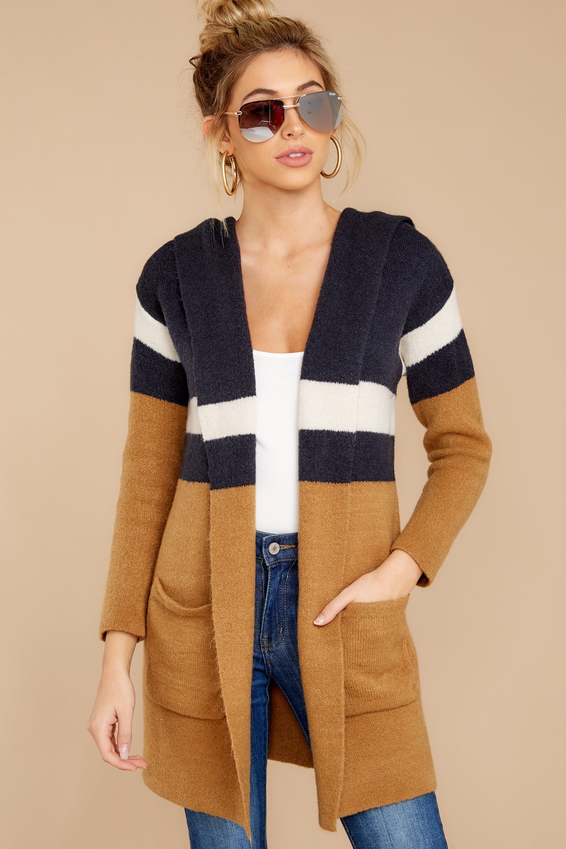 4 Early Morning Camel And Navy Striped Cardigan at reddressboutique.com