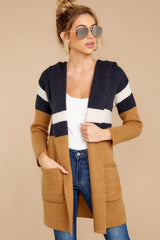 5 Early Morning Camel And Navy Striped Cardigan at reddressboutique.com