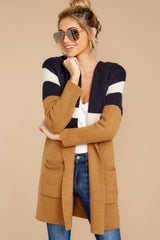 6 Early Morning Camel And Navy Striped Cardigan at reddressboutique.com